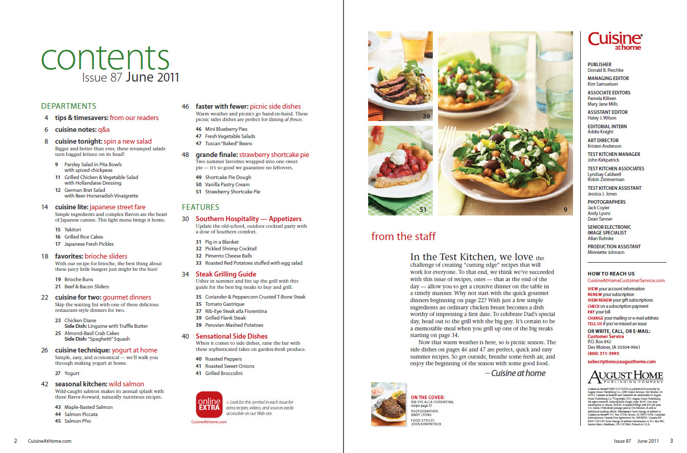 Cuisine at home Annual VolumesFood Magazine Table Of Contents